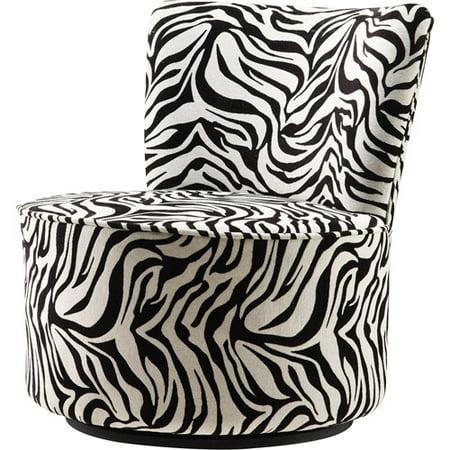 Zebra Swivel Chair Black And White Walmart Com