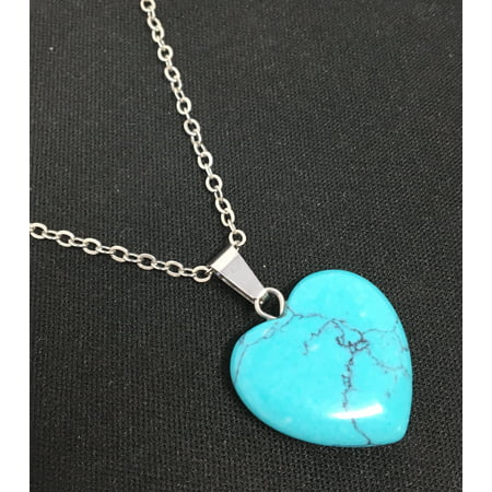 Sterling Silver Natural Turquoise Heart Pendant Necklace (December Heart)