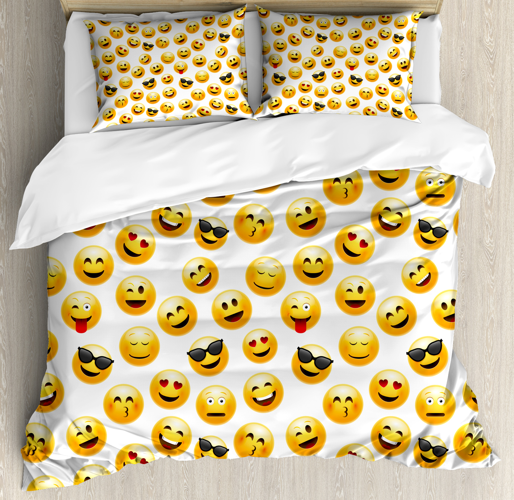 Emoji Duvet Cover Set, Smiley Face Character Illustration Feeling Happy Surprised Cool and In Love, Decorative Bedding Set with Pillow Shams, Yellow Red Black, by Ambesonne