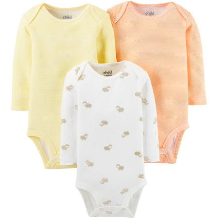 369442ac3 Carter's - Child Of Mine By Carter's Newborn Baby Boy, Girl or Unisex Long  Sleeve Bodysuits, 3-Pack - Walmart.com