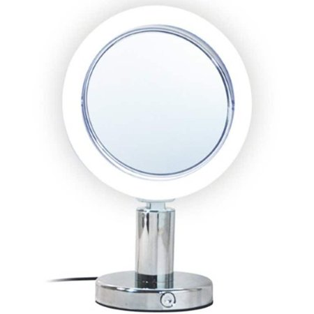 Metal Round 7x/1x Magnification Lighted Vanity Make up Mirror with Bright White LED, Trumpet Base Design Body And Tiltable Head Chrome Finish -8.75