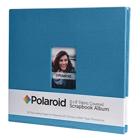 Polaroid 8x8 Cloth Covered Scrapbook Photo Album w/ Front Picture Window for Zink 2x3 Photo Paper Projects (Snap, Zip, Z2300) - Blue 8x8 Scrapbook Photo Album