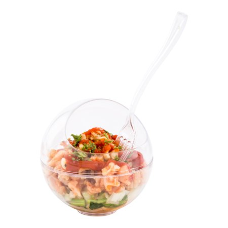 Balloon Bowl, Balloon Dish - Sphere Shaped Dish - 3 oz - Premium Plastic - Clear - Disposable - 100ct Box - Heart Shaped Balloon