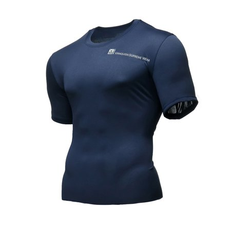 Wait Training T-shirt - Fusion VS Wear Men's Microfiber Slim Fit Compression Short Sleeve Athletic Sport Performance Training Thermal Baselayer Tactical Crew T-Shirt Made in USA Large Blue