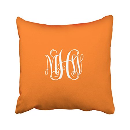WinHome Decorative Pillowcases Pumpkin White 3 Initials Vine Script Monogram Throw Pillow Covers Cases Cushion Cover Case Sofa 18x18 Inches Two Side - Halloween Pumpkin Dance Vine