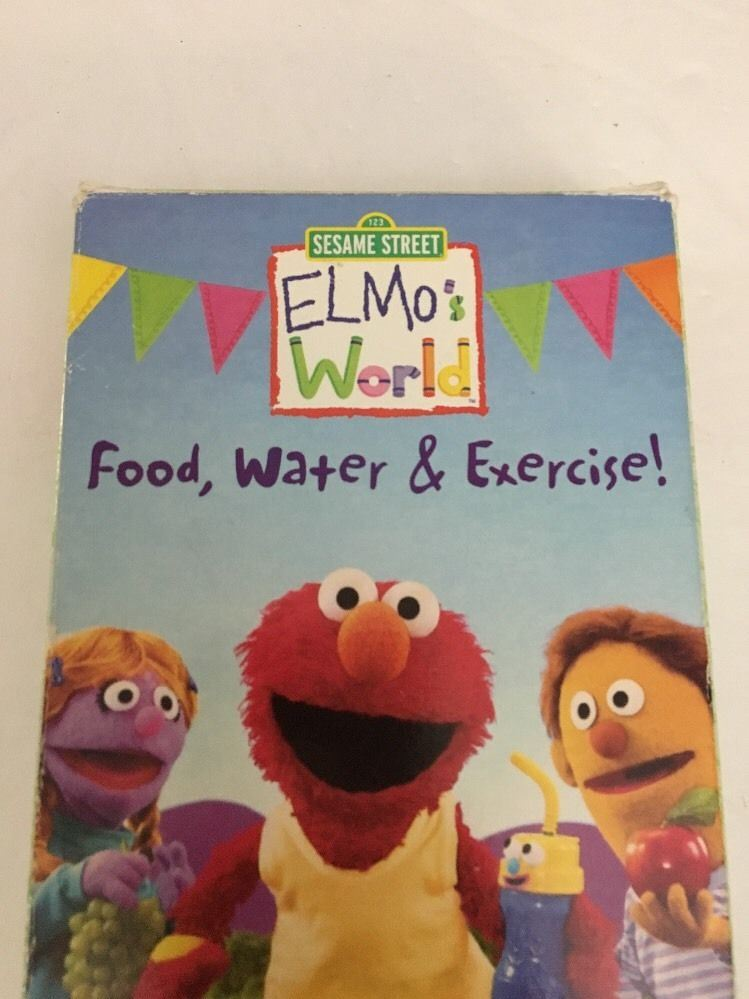 Sesame Street Elmo S World Food Water Exercise Vhs Tested