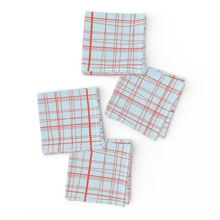 Cocktail Napkins Plaid Red And Blue Holiday Christmas Shabby Set of 4 ()