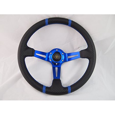 Yamaha Golf Cart & Polaris Rhino Blue Steering Wheel With Chrome Adapter 3 (Rhino Steering Wheel)