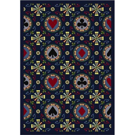 Joy Carpets 59D 02 Stacked Deck Navy 7 Ft 8 In  X 10 Ft 9 In  100 Pct  Stainmaster Nylon Machine Tufted  Cut Pile Gaming And Entertainment Rug