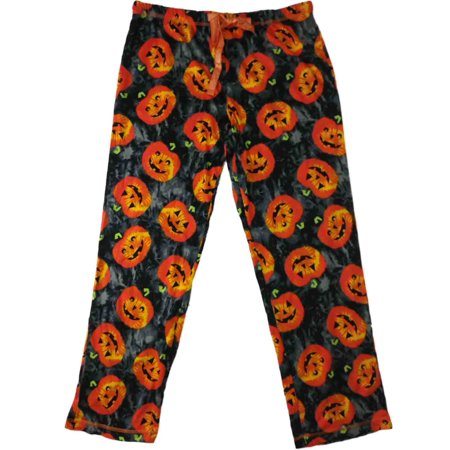 Womens Gray & Orange Pumpkin Sleep Pants Halloween Jack O Lantern Pajama Bottoms](1 More Sleep Until Halloween)
