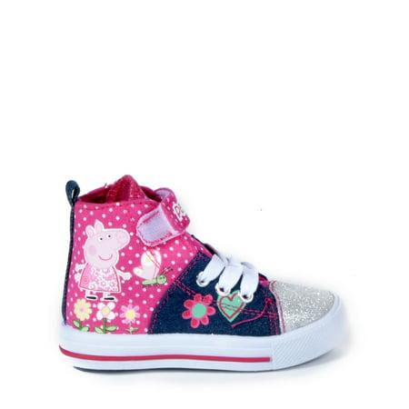 Peppa Pig - Toddler Girls' Glitter Hi-Top Sneakers - Glitter Shoes Girls