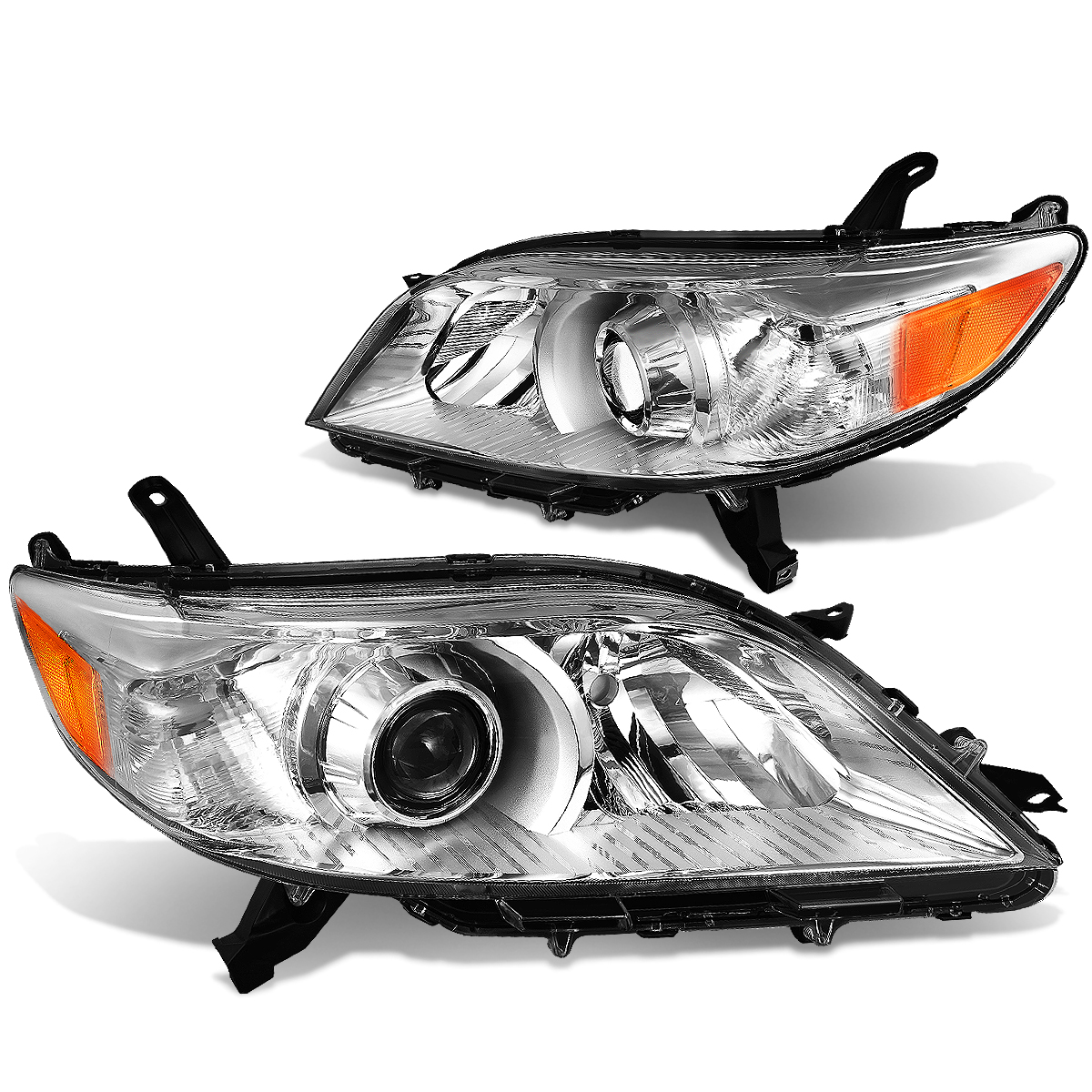 For 11-17 Toyota Sienna XL30 Pair of Projector Headlight Chrome Housing Amber Corner Lamps 12 13 14 15 16