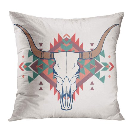 ECCOT Longhorn of Bull Skull Ethnic Steer Head Cow Buffalo Geometric Pillow Case Pillow Cover 18x18 inch