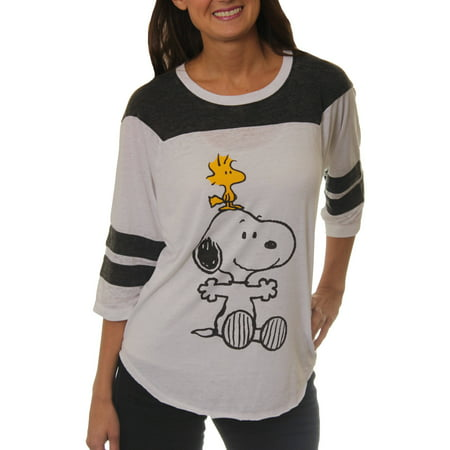 peanuts women 39 s snoopy and woodstock graphic football t. Black Bedroom Furniture Sets. Home Design Ideas