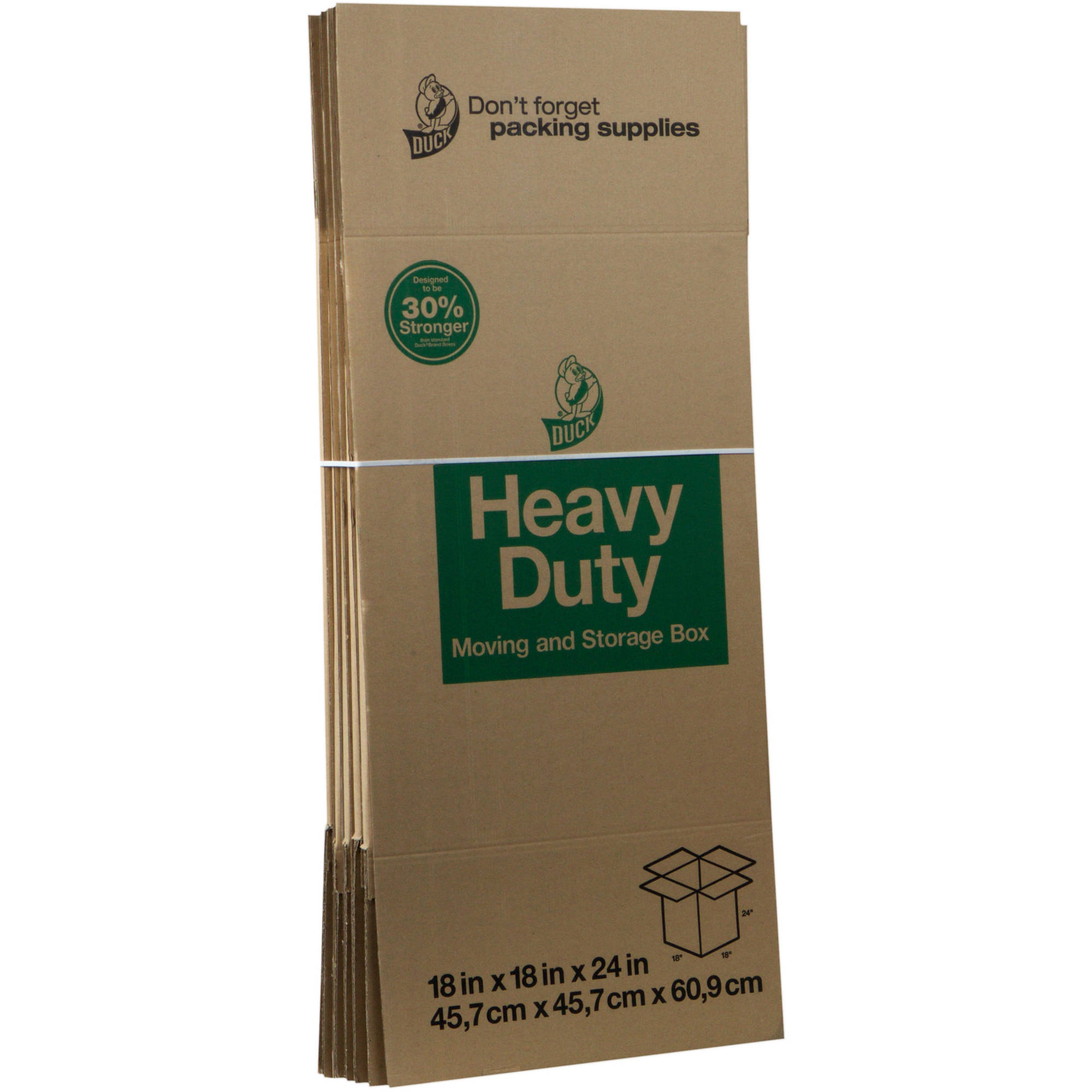 Duck Heavy Duty Kraft Box, 18 in. x 18 in. x 24 in., Brown, 6-Count