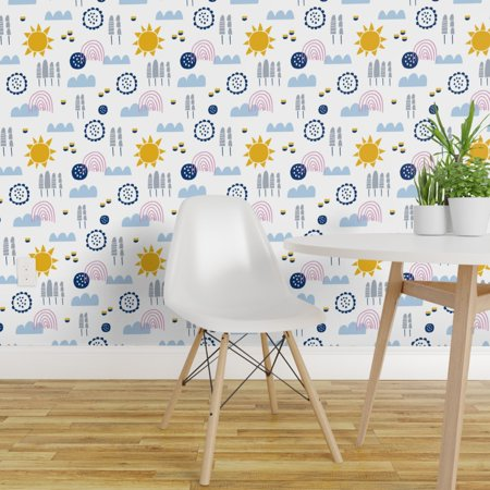 Peel and Stick Removable Wallpaper Scandinavian Mod Minimalist Sun Clo