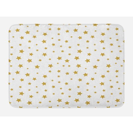 Star Bath Mat, Golden Stars Pattern Illustration Creative Stylish Birthday Bachelorette Theme Print, Non-Slip Plush Mat Bathroom Kitchen Laundry Room Decor, 29.5 X 17.5 Inches, Gold White, Ambesonne