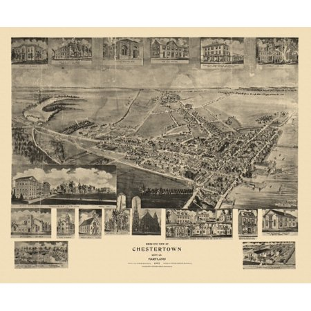 Antique Map of Chestertown Maryland 1907 Kent County Poster Print ()