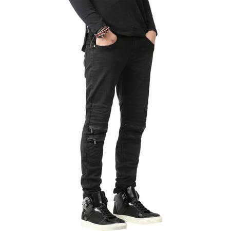 Ma Croix Mens Biker Jeans Distressed Ripped Zipper Straight Slim Fit Stretch Denim