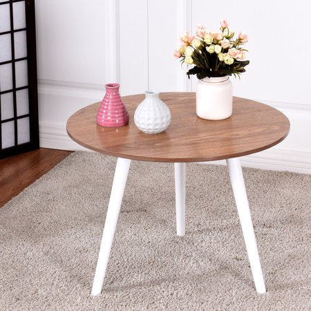 Modern Round Coffee Table Side Tea End Table Pine Furniture Dining Living Room