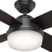 Hunter contemporary dempsey damp matte black ceiling fan with hunter contemporary dempsey damp matte black ceiling fan with light remote 52 image aloadofball Image collections