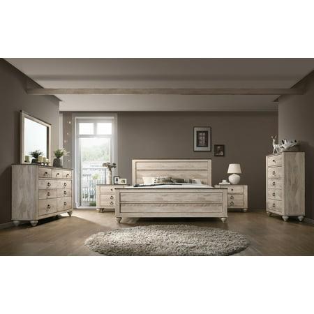 Roundhill Imerland Contemporary White Wash Finish Bedroom Set, Queen Bed,  Dresser, Mirror, 2 Nightstands, Chest
