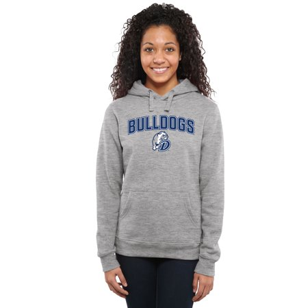 Drake Bulldogs Women's Proud Mascot Pullover Hoodie - Ash - - Bulldog Mascot