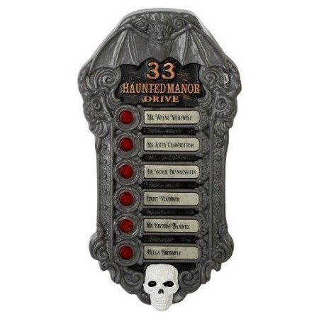 33 Haunted Manor Drive Animated Haunted Doorbell with Spooky Halloween Sounds - Lights Up Red for $<!---->
