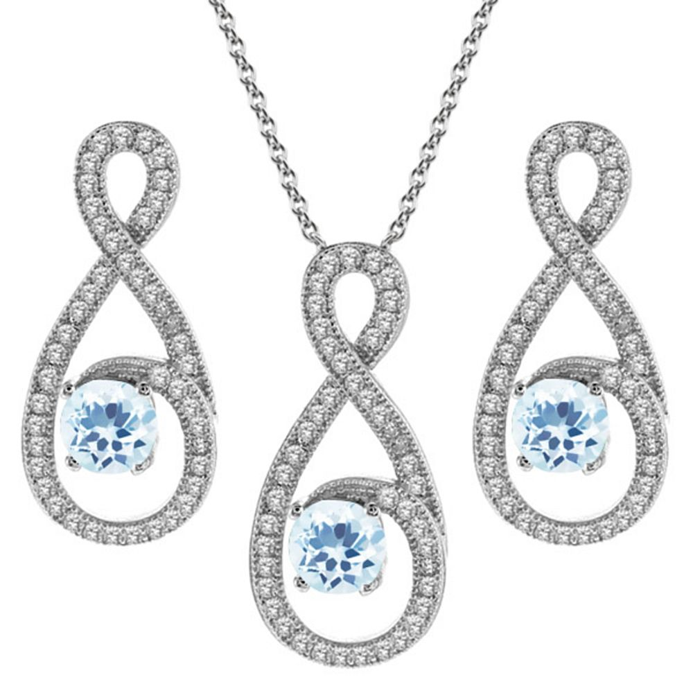 3.90 Ct Round Sky Blue Topaz 925 Sterling Silver Pendant Earrings Set by