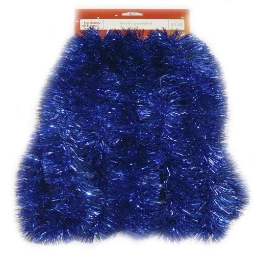 Holiday Time Tinsel Garland, Soft and Silky Blue
