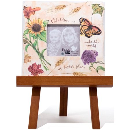 Pavilion- Children make the world a better place 2.25x2.25 Orange Fall Butterfly and Floral Picture Frame with Wooden Easel - Butterfly Pavilion Coupon