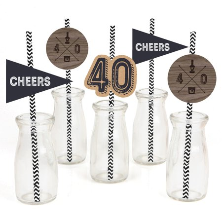 40th Milestone Birthday - Paper Straw Decor - Birthday Party Striped Decorative Straws - Set of 24 - 40th Birthday Decor