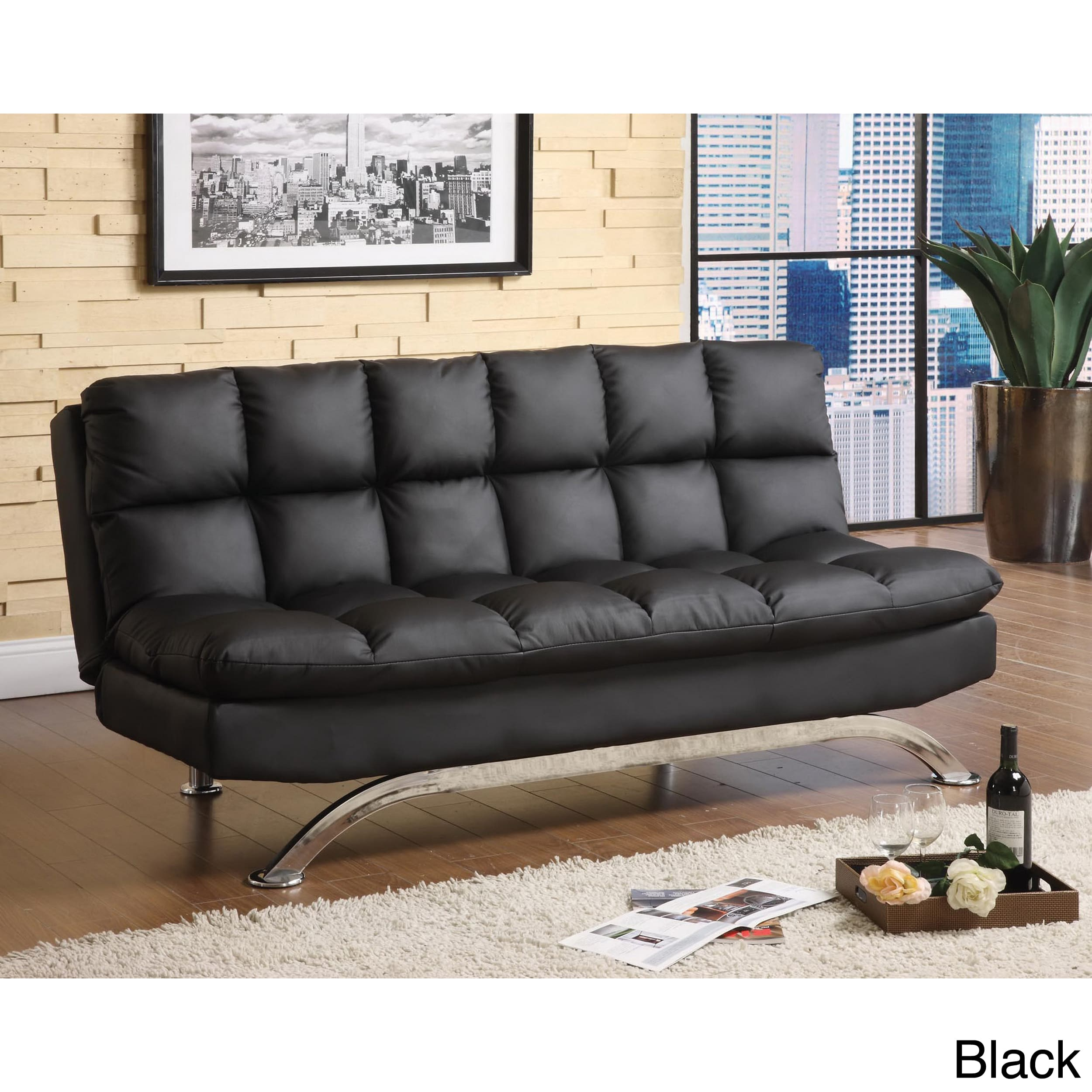 Furniture of America Pascoe Bicast Leather Sofa/ Futon - Walmart.com