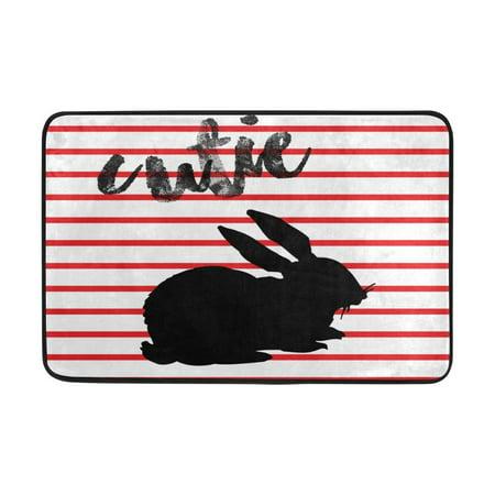 POPCreation Rabbit Patterns Doormats Entry Way Indoor Outdoor Door Rug with Non Slip Backing 23.6x15.7
