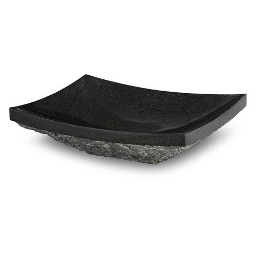 Xylem GRVE158RBKR Rectangular Stone Vessel Sink with Rough Exterior - Black Granite