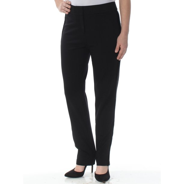 black pants women : CALVIN KLEIN Womens Black Faux Leather Stripe Ankle Wear To Work Pants Size: 4