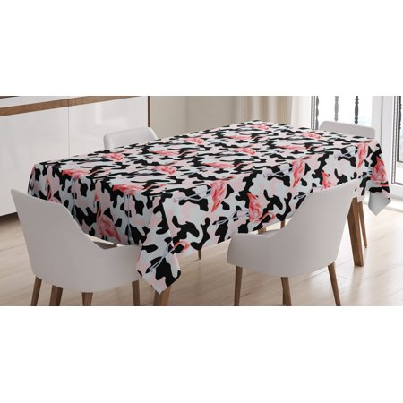 Camo Tablecloth, Watercolor Pink Flamingo Print on Camouflage Background Trendy Nature, Rectangular Table Cover for Dining Room Kitchen, 52 X 70 Inches, Dark Coral Light Pink Black, by Ambesonne