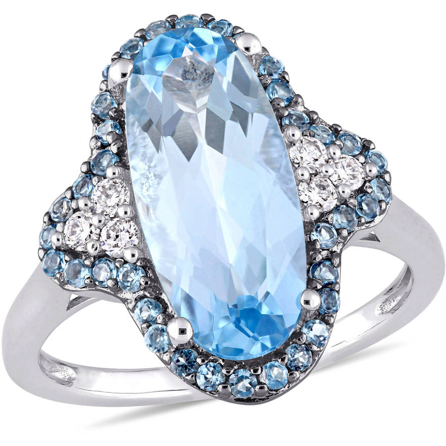 Tangelo 4-5 8 Carat T.G.W. Sky and London Blue Topaz and 1 8 Carat T.W. Diamond 14kt White Gold Quatrefoil Ring by Tangelo