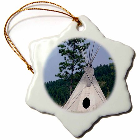 (3dRose SD, Lakota Indian teepee, Native American - US42 CMI0278 - Cindy Miller Hopkins - Snowflake Ornament, 3-inch)