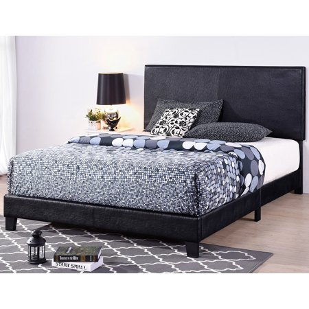 Full Size Platform Bed Frame with Headboard, Heavy Duty Faux Leather Upholstered Bed Frame/Mattress Foundation with Wood Slat Support for Adults Teens Children, Modern Bedroom Furniture, Black, L459