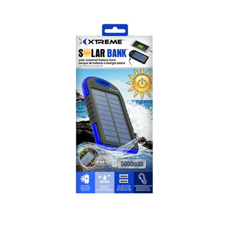 Solar Panel Battery Bank >> Xtreme External Solar Panel Battery Bank 5000mah Weatherproof Dual Usb Port