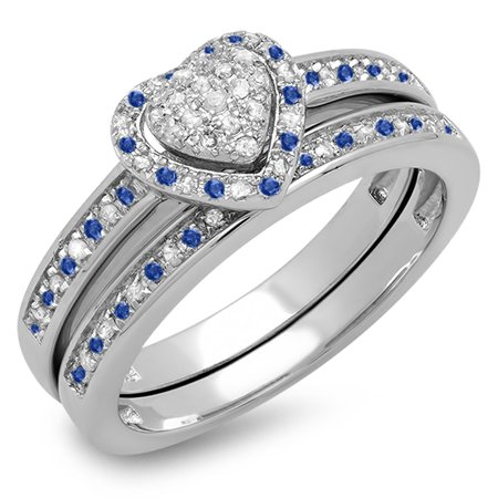 Dazzlingrock Collection Sterling Silver Blue Sapphire & White Diamond Heart Shaped Bridal Ring Set, Size 7 - Heart Shaped Bridal Set
