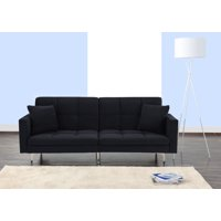 Sofamania Modern Tufted Split Back Sofa Bed in Velvet, Multiple Colors