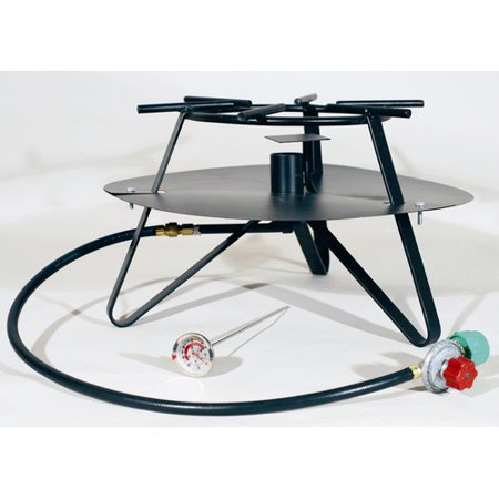 King Kooker Heavy Duty Jet Burner Outdoor Cooker Package with Baffle and Flat Bar Legs