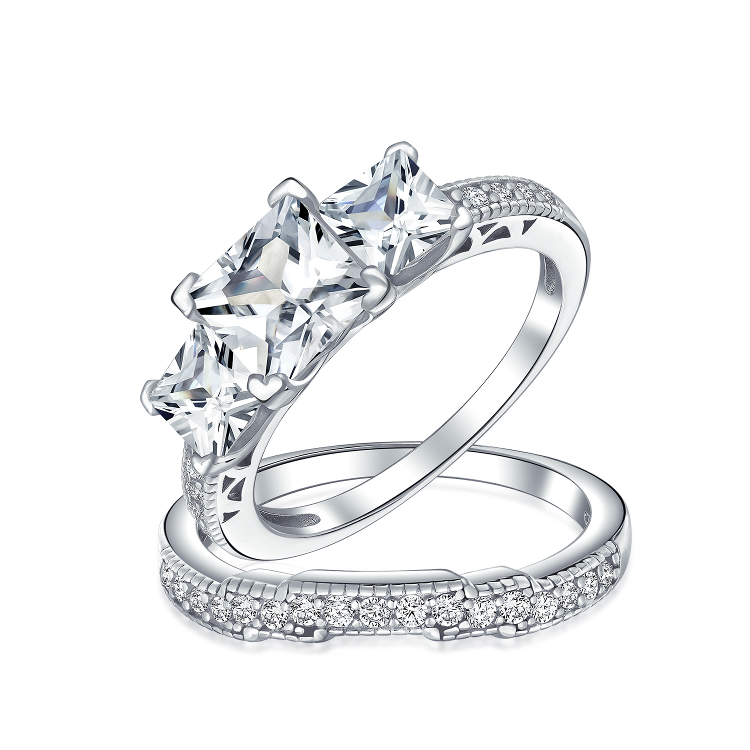 Emerald Park Jewelry Cute Cat and Heart Rhinestone Silver Plated Engagement Ring
