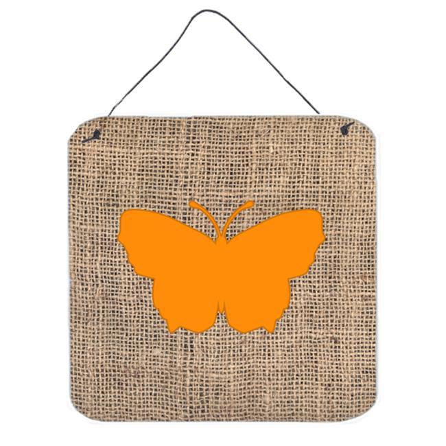 Carolines Treasures BB1045-BL-OR-DS66 Butterfly Burlap And Orange Aluminium Metal Wall Or Door Hanging Prints - 6 x 6 In. - image 1 of 1