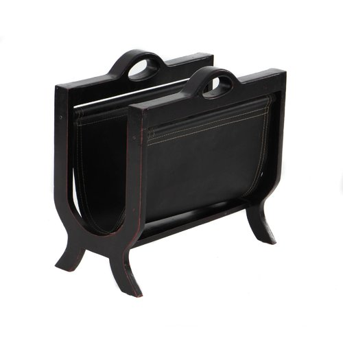EC World Imports Handcrafted Decorative Wood and Leather Magazine Rack by EC World Imports