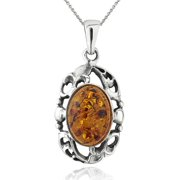 """Amber Nights Filigree Frame Drop Amber Sterling Silver Pendant, 18"""" Rolo Chain"""