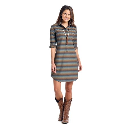 Roughstock by Panhandle Ladies Two Pocket Snap Dress, Wingo Vintage Ombre Stripe (XX-Large) (Cowgirl Western Dresses)