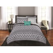 Mainstays Linen Tribal Diamond Bed in a Bag Coordinating Comforter Set, Full